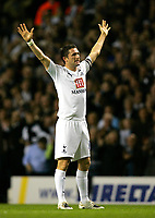 Photo: Tom Dulat.<br /> <br /> Tottenham Hotspur v Blackpool. Carling Cup. 31/10/2007.<br /> <br /> Robbie Keane celebrates his opener for Tottenham Hotspur, Tottenham leads 1-0