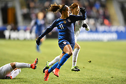February 27, 2019 - Chester, PA, U.S. - CHESTER, PA - FEBRUARY 27: US Forward Mallory Pugh (11) chases down a loose ball in the first half during the She Believes Cup game between Japan and the United States on February 27, 2019 at Talen Energy Stadium in Chester, PA. (Photo by Kyle Ross/Icon Sportswire) (Credit Image: © Kyle Ross/Icon SMI via ZUMA Press)