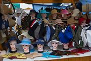A stall selling hats and fans at the market in Vodnikov Square in the Slovenian capital, Ljubljana, on 27th June 2018, in Ljubljana, Slovenia.