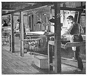 Spitalfields silk weavers, Warner's workshops, Spitalfields, London, late 19th century. This enclave of the silk industry was founded by Huguenot refugees from France after Louis XIV's Revocation of the Edict of Nantes (1685). Engraving, 1893.