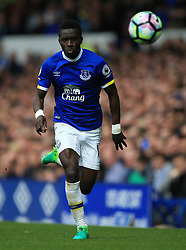 """Everton's Idrissa Gueye during the Premier League match at Goodison Park, Liverpool. PRESS ASSOCIATION Photo. Picture date: Sunday April 30, 2017. See PA story SOCCER Everton. Photo credit should read: Nigel French/PA Wire. RESTRICTIONS: EDITORIAL USE ONLY No use with unauthorised audio, video, data, fixture lists, club/league logos or """"live"""" services. Online in-match use limited to 75 images, no video emulation. No use in betting, games or single club/league/player publications."""