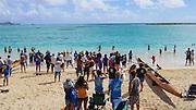 Outrigger canoe, race, Kailua Beach, Oahu, Hawaii