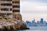 "United States, California, San Francisco. Cityscape from the famous Alcatraz prison island, also known as ""The Rock""."