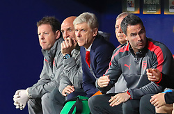 Arsenal manager Arsene Wenger looks on from the dugout during the UEFA Europa League, Semi Final, Second Leg at Wanda Metropolitano, Madrid.