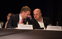 DEU, Deutschland, Germany, Arnstadt, 18.02.2017: Sachsen-Anhalts AfD-Chef Andre Poggenburg und Brandenburgs Vize-AfD-Chef Andreas Kalbitz bei der Landeswahlversammlung der Partei Alternative für Deutschland (AfD) in Thüringen.
