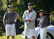 """COOPERSTOWN, NY - JULY 26: 2014 Hall of Fame inductee Tom Glavine and his sons participate in the annual """"Hall of Fame Golf Classic"""" at the Leatherstocking Golf Club in Cooperstown, New York on July 26, 2014."""