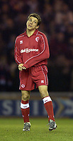 Photo. Jed Wee<br />Middlesbrough v Bradford Reserves, The Riverside, Middlesbrough. 25/02/2003.<br />Middlesbrough's Juninho makes his long awaited return from injury.