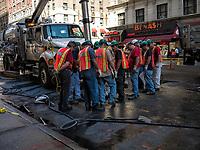 Digging a hole in Seventh Avenue; Midtown Manhattan.