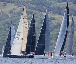 Sailing - SCOTLAND  - 27th May 2018<br /> <br /> DAY 3 Racing the Scottish Series 2018, organised by the  Clyde Cruising Club, with racing on Loch Fyne from 25th-28th May 2018<br /> <br /> Class One, Start<br /> <br /> GBR447R, Local Hero, Geoff & Norman Howison, RGYC, Beneteau 44.7, <br /> IRL1335, Spirit of Jacana, AlanBruceJames Douglas, Carrickfergus SC,<br /> GBR4041R, Forty Licks, Jay Colville, East Down YC, First 40 <br /> <br /> <br /> Credit : Marc Turner<br /> <br /> Event is supported by Helly Hansen, Luddon, Silvers Marine, Tunnocks, Hempel and Argyll & Bute Council along with Bowmore, The Botanist and The Botanist