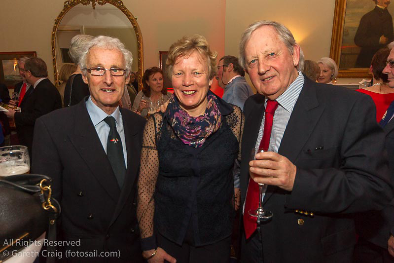 (l to r) Richard Gibson, Pauline McKechnie, and Roddy Hogan at the reunion night to celebrate 50 years of the Irish Fireball Class, held at the Royal St George YC.