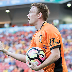 BRISBANE, AUSTRALIA - OCTOBER 30: Corey Brown of the roar gestures to his teammates during the round 4 Hyundai A-League match between the Brisbane Roar and Perth Glory at Suncorp Stadium on October 30, 2016 in Brisbane, Australia. (Photo by Patrick Kearney/Brisbane Roar)