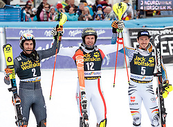 05.03.2017, Podkoren, Kranjska Gora, SLO, FIS Weltcup Ski Alpin, Kranjska Gora, Slalom, Herren, Siegerehrung, im Bild v.l. Stefano Gross (ITA, 2. Platz), Michael Matt (AUT, 1. Platz), Felix Neureuther (GER, 3. Platz) // f.l. second placed Stefano Gross of Italy race winner Michael Matt of Austria third placed Felix Neureuther of Germany during the winner Ceremony for the men's Slalom of FIS Ski Alpine World Cup at the Podkoren in Kranjska Gora, Slovenia on 2017/03/05. EXPA Pictures © 2017, PhotoCredit: EXPA/ Johann Groder