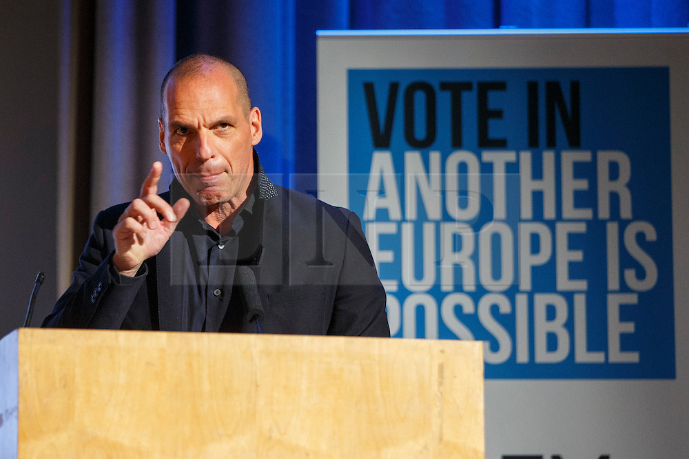 "© Licensed to London News Pictures. 28/05/2016. London, UK. Former Greek Finance Minister YANIS VAROUFAKIS speaking at ""Another Europe is Possible"" rally at UCL Institute of Education in London, campaigning for a remain vote at the upcoming EU referendum. Speakers at the event include Shadow Chancellor John McDonnell and Green Party MP Caroline Lucas. Photo credit: Tolga Akmen/LNP"