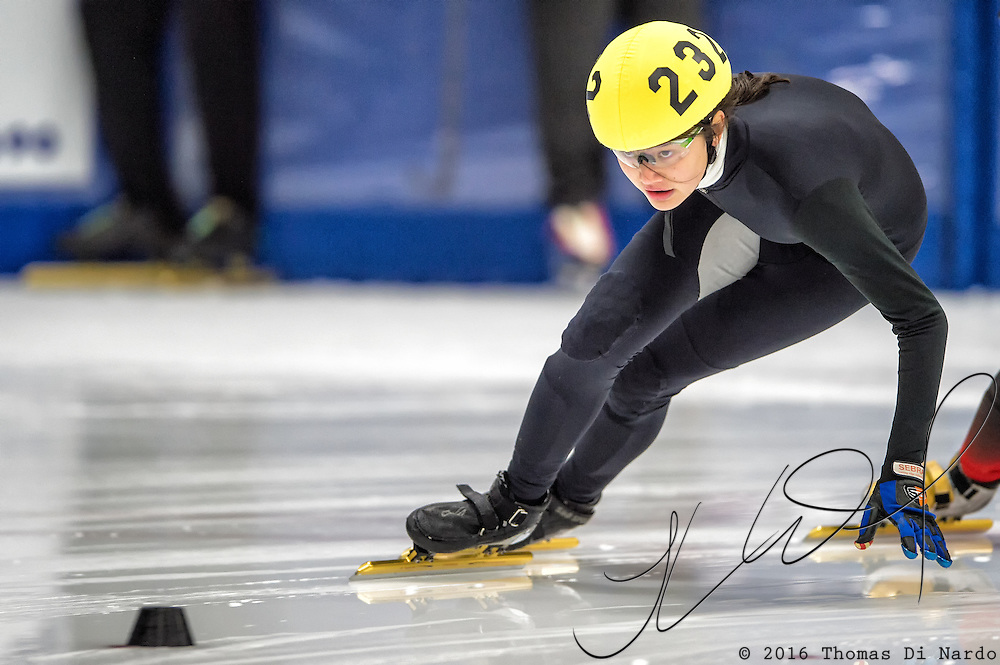 March 18, 2016 - Verona, WI - Elizabeth Johnson, skater number 232 competes in US Speedskating Short Track Age Group Nationals and AmCup Final held at the Verona Ice Arena.