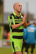 Forest Green Rovers midfielder Liam Noble (15) applauds the fans during the Vanarama National League match between Forest Green Rovers and Dagenham and Redbridge at the New Lawn, Forest Green, United Kingdom on 29 October 2016. Photo by Alan Franklin.