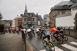 The lead group speed through town at the 2020 Liège Bastogne Liège, a 135 km road race from Bastogne to Liège, Belgium on October 4, 2020. Photo by Sean Robinson/velofocus.com