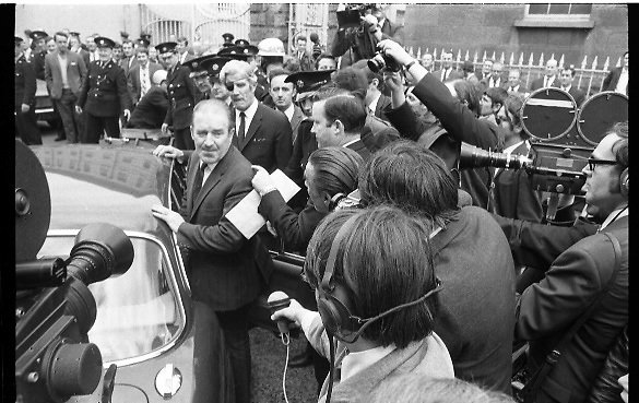 Haughey and Boland leave the Bridewell.28/05/1970<br /> <br /> 1970 - Haughey and Boland leave the Bridewell.