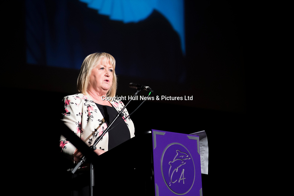 10 October 2017: Cleethorpes Academy Presentation Evening at Grimsby Auditorium. The guest speaker was Aled Jones MBE who presented the awards and also visited the Academy earlier in the day.<br /> Pictured is Principal Janice Hornby.<br /> Picture: Sean Spencer/Hull News & Pictures Ltd<br /> 01482 210267/07976 433960<br /> www.hullnews.co.uk         sean@hullnews.co.uk