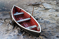 Red dinghy frozen in Comox harbour, Comox BC