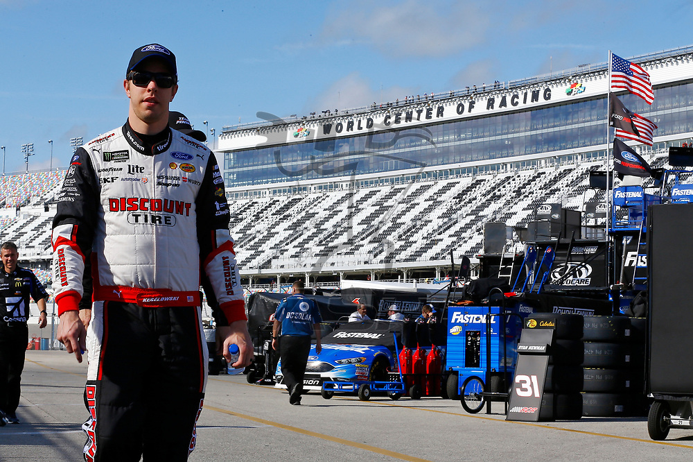 February 10, 2018 - Daytona Beach, Florida, USA: Brad Keselowski (2) hangs out in the garage during practice for the Advance Auto Parts Clash at Daytona International Speedway in Daytona Beach, Florida.