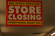 All Stock Reduced Everything Must Go Store Closing sign, Woolworths, Ipswich, England