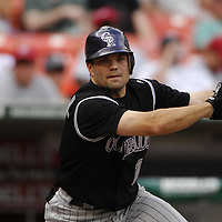 21 July 2007:  Colorado Rockies second baseman Jamey Carroll (1) in action against the Washington Nationals.  The Nationals defeated the Rockies 3-0 at RFK Stadium in Washington, D.C.  ****For Editorial Use Only****