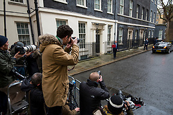 © Licensed to London News Pictures. 08/03/2017. London, UK. Members of the media photograph and film British Chancellor PHILIP HAMMOND as he holds up the red box containing the spring budget outside 11 Downing Street, before he delivers his 2017 Budget to Parliament. Photo credit: Ben Cawthra/LNP
