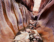 Boulder-strewn narrows of Wetherill Canyon with seeps along wall of Navajo Sandstone, Glen Canyon National Recreation Area and Navajo Reservation, Utah.