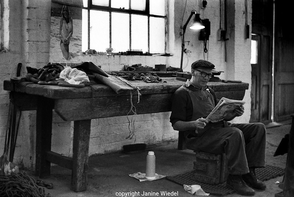 Break time from chainmaking ar Barzillai Hingley. chain makers in Cradley Heath West Midlands UK 1977