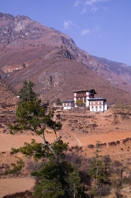 Traditional Bhutanese architecture in the Himalayan mountains of Bhutan.