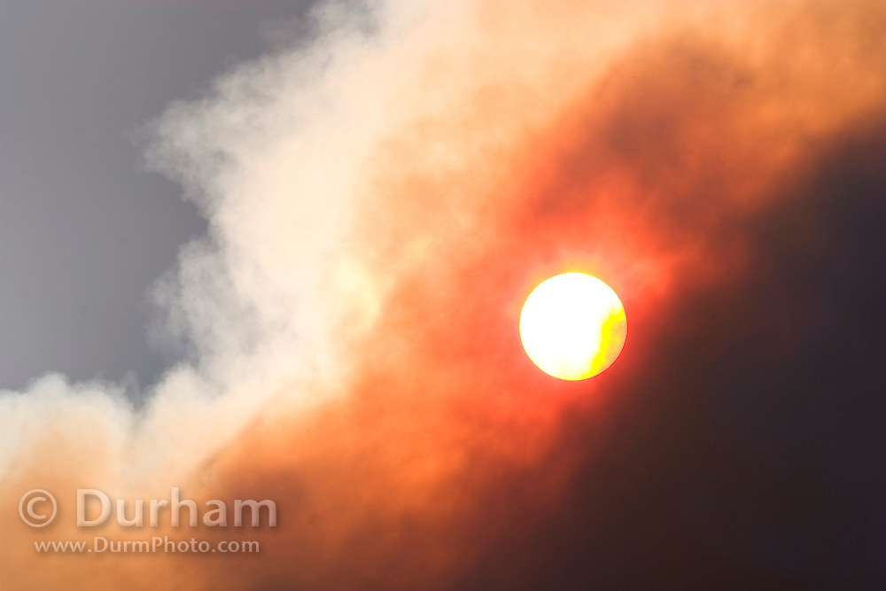 Smoke from a forest fire obscures the sun. Deschutes National Forest, Oregon.