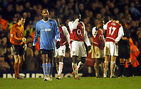A DEJECTED NICOLAS ANELKA MANCHESTER CITY WALKS OFF THE PITCH AFTER BEEN SENT OFF BY REFEREE MR A WILEY<br /> ARSENAL V MANCHESTER CITY 01/02/04 PREMIER LEAGUE<br /> PHOTO ROBIN PARKER FOTOSPORTS INTERNATIONAL