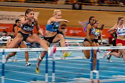 Zoë Sedney, Anouk Vetter in action on 60 meter hurdles during the Dutch Indoor Athletics Championship on February 23, 2020 in Omnisport De Voorwaarts, Apeldoorn