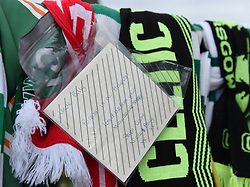 Tributes surround the statue of Celtic legend Billy McNeil at Parkhead the day after his funeral, Celtic Park, Parkhead, Glasgow, Angie Isac | EEm Saturday 04 May 2019