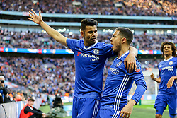 Goal, Eden Hazard of Chelsea scores and celebrates with Diego Costa of Chelsea, Chelsea 3-2 Tottenham Hotspur - Mandatory by-line: Jason Brown/JMP - 22/04/2017 - FOOTBALL - Wembley Stadium - London, England - Chelsea v Tottenham Hotspur - Emirates FA Cup Semi-Final