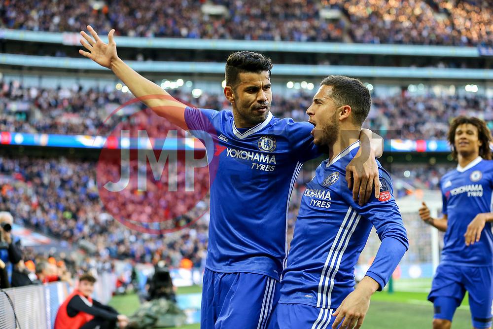Goal, Eden Hazard of Chelsea scores and celebrates with Diego Costa of Chelsea, Chelsea 3-2 Tottenham Hotspur - Mandatory by-line: Jason Brown/JMP - 22/04/2017 - FOOTBALL - Wembley Stadium - London, England - Chelsea v Tottenham Hotspur - Emirates FA Cup Semi-Final
