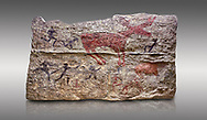 Fresco of human figures around a deer. None of the figures carry weapons and some a dressed in leopard costumes. The figures seem to be trying to hold on or touch the deer amd one figure appears to be holding its tongue. 6000 BC, Catalhoyuk Collections. Museum of Anatolian Civilisations, Ankara. Against a grey background .<br /> <br /> If you prefer you can also buy from our ALAMY PHOTO LIBRARY  Collection visit : https://www.alamy.com/portfolio/paul-williams-funkystock/prehistoric-neolithic-art.html - Type Catalhoyuk into the LOWER SEARCH WITHIN GALLERY box. Refine search by adding background colour, place, museum etc.<br /> <br /> Visit our PREHISTORIC PLACES PHOTO COLLECTIONS for more  photos to download or buy as prints https://funkystock.photoshelter.com/gallery-collection/Prehistoric-Neolithic-Sites-Art-Artefacts-Pictures-Photos/C0000tfxw63zrUT4