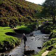 A boy walks holding a fishing net in a shallow stream known locally as 'the Sheep Wash' on the North York Moors National Park near Osmotherley, North Yorkshire, UK