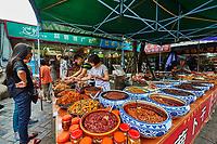 Chengdu, China - September 19, 2014: traditional spicy food Sichuan cuisine Wenshu monastery pedestrian area in Chengdu China