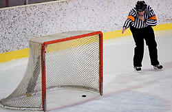 Ploscica v mrezi. Puck in the net. Slovenski hokejski sodnik Damir Rakovic predstavlja sodniske znake. Na Bledu, 15. marec 2009. (Photo by Vid Ponikvar / Sportida)