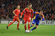 Aaron Ramsey of Wales goes past Gabriel Riera of Andorra.Wales v Andorra, Euro 2016 qualifying match at the Cardiff city stadium  in Cardiff, South Wales  on Tuesday 13th October 2015. <br /> pic by  Andrew Orchard