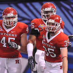 Dec 19, 2009; St. Petersburg, Fla., USA; Rutgers cornerback Billy Anderson (35) celebrates his first career interception for a touchdown in his final game during NCAA Football action in Rutgers' 45-24 victory over Central Florida in the St. Petersburg Bowl at Tropicana Field.