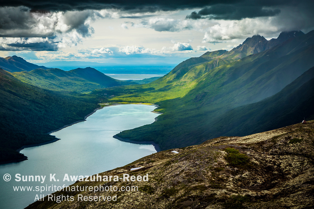 Eklutna Lake in stormy weather, viewed from Bold Ridge. Chugach State Patk, Southcentral Alaska, Summer.