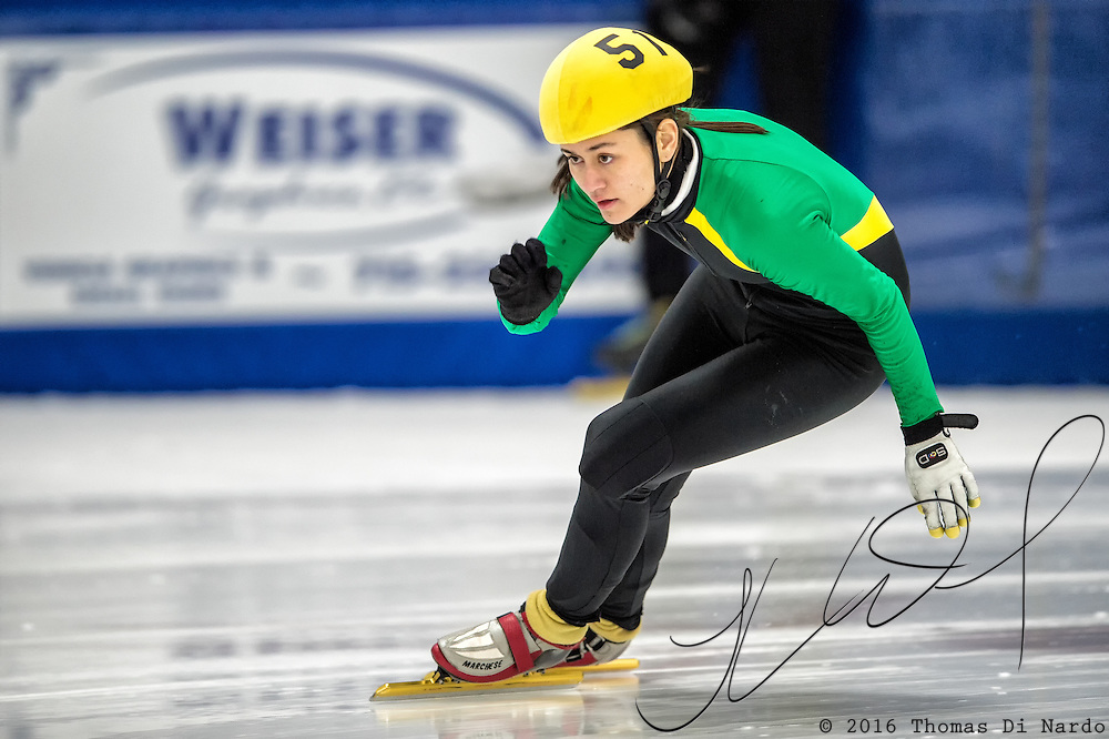 March 18, 2016 - Verona, WI - Mei Fredeen, skater number 51 competes in US Speedskating Short Track Age Group Nationals and AmCup Final held at the Verona Ice Arena.