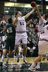 17 December 2011:  Nick Anderson and John Koschnitzky share a rebound during an NCAA mens division 3 basketball game between the Washington University Bears and the Illinois Wesleyan Titans in Shirk Center, Bloomington IL