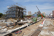 Construction work continues on the Daan Park MRT Station, a part of the Xinyi line.