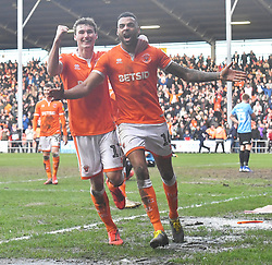 Blackpool's Matty Virtue (left) and Curtis Tilt celebrate the late own goal