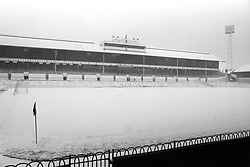 File photo dated 29-11-1969 of The snow-covered pitch at White Hart Lane, where a First Division match between Tottenham Hotspur and Everton was postponed.