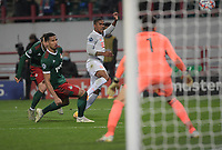 MOSCOW, RUSSIA - OCTOBER 27: Douglas Costa of FC Bayern Muenchen goes for goal during the UEFA Champions League Group A stage match between Lokomotiv Moskva and FC Bayern Muenchen at RZD Arena on October 27, 2020 in Moscow, Russia. (Photo by MB Media)