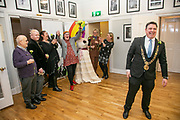 Lord Mayor of Dublin Paul Mc Auliffe with members of the LGBTQ+ community launching The Wilde idea at Winter Pride by Dublin Pride LGBTQ+ Pride <br />more info see www.winterpride.ie.<br />kobpix/Arthur Carron Photography No Fee.